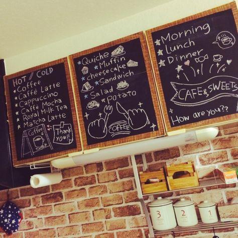 例8)キッチンの収納扉をカフェ風なチョークアートいっぱいに