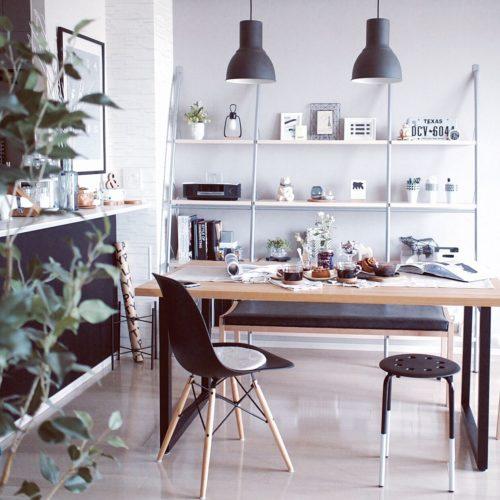 女性で、3LDK、家族住まいの北欧/マンション/IKEA/IKEA 照明/IKEA スツール/ダイニング…などについてのインテリア実例を紹介。