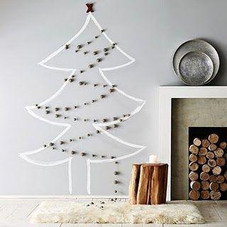 クリスマスツリー壁にマスキングテープ