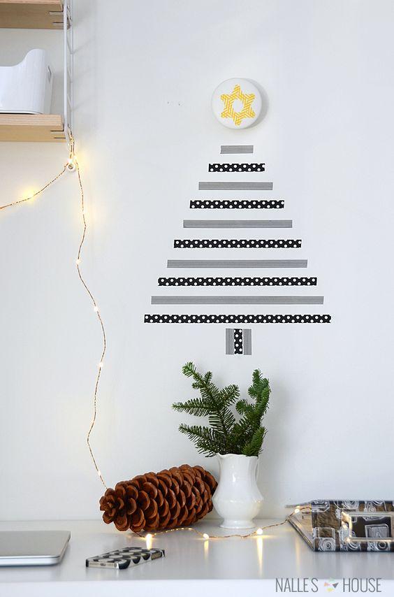 最近流行りのマスキングテープでクリスマスツリーを壁に飾ってみませんか。