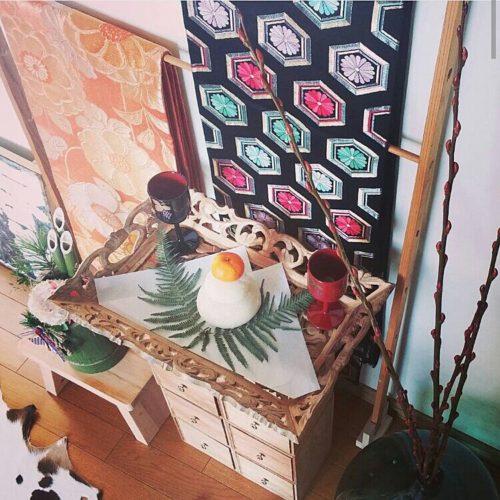 女性で、4LDKのお正月ディスプレイ/正月飾り/お正月/着物/和風についてのインテリア実例を紹介。