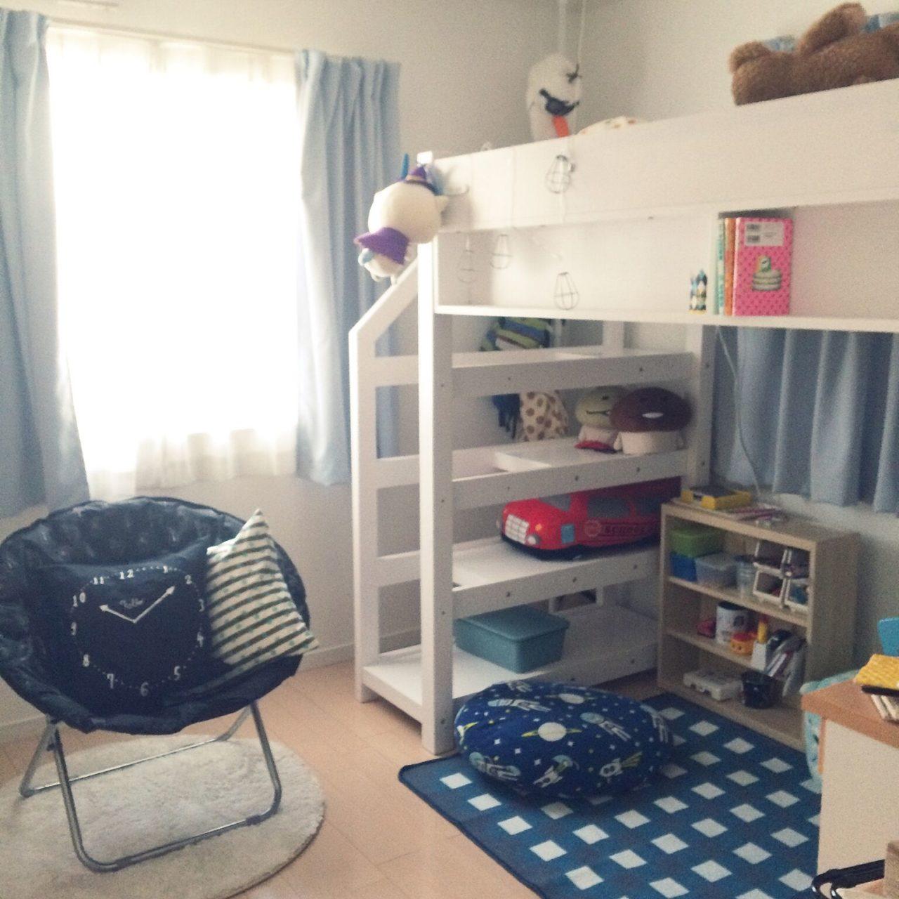 女性で、3LDKのsalut!/子供部屋/男の子の部屋/ニトリ/ロフトベッド/ベッド周り…などについてのインテリア実例を紹介。