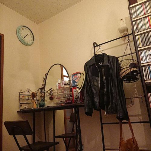 ハンガーラックのあるおしゃれな部屋異素材ガーリー