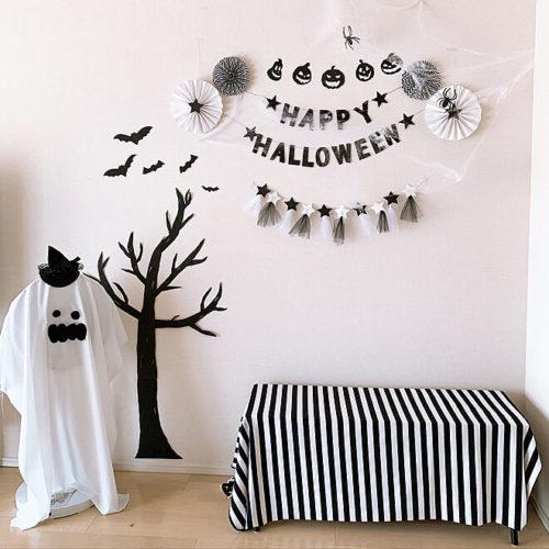 100均ハロウィン子供と楽しい飾り付け画用紙