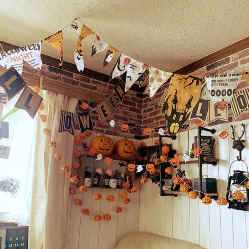 100均ハロウィン子供と楽しい飾り付け手ぬぐいガーランド