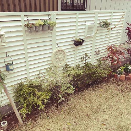 ラティスを使った庭の目隠しアイデアルーバーラティスホワイト