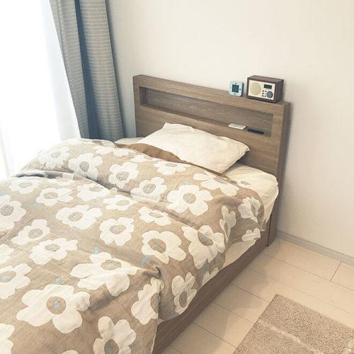 マリメッコ好きのインテリア部屋ベッドを飾るベッドファブリック
